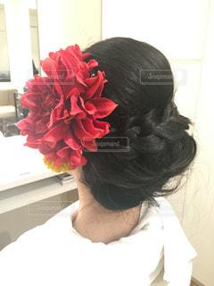 女性,花,髪,赤,結婚式,髪型,人物,人,ウエディング,ヘアアレンジ,和装,色打掛,打ち合わせ,ヘアセット,ヘア
