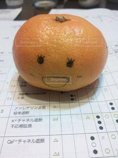 冬,オレンジ,フルーツ,果物,顔,くだもの,みかん,勉強,落書き,テキスト,ミカン,薬学