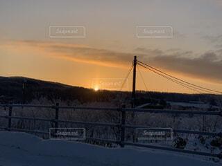 風景,空,冬,雪,屋外,太陽,朝日,北海道,オレンジ,樹木,正月,寒い,お正月,日の出,新年,初日の出