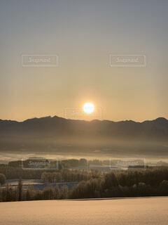 自然,風景,空,冬,木,雪,屋外,太陽,朝日,雲,晴れ,北海道,霧,山,オレンジ,丘,樹木,正月,朝,寒い,お正月,日の出,新年,初日の出,もや
