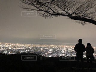 風景,夜景,樹木,人