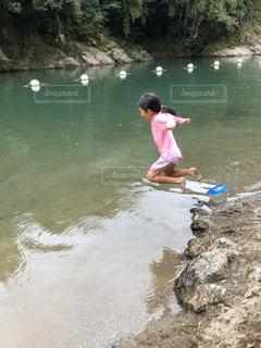 風景,夏,川,水面,人,飛び込み