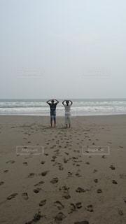 自然,海,空,夏,砂,ビーチ,人
