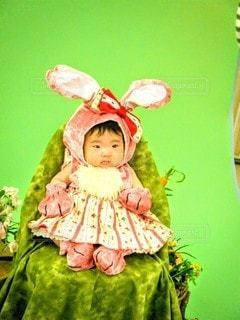 子ども,自然,風景,花,春,動物,うさぎ,屋内,かわいい,人,人形,赤ちゃん,幼児,100日