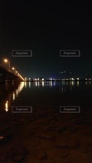 夜,橋,夜景,絶景,屋外,川,ライト,都会