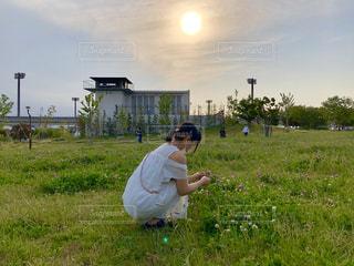 女性,風景,空,公園,花,夕日,夕暮れ,景色,日常,草,人,デート