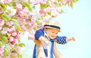 子ども,風景,花,桜,帽子,笑顔,赤ちゃん,八重桜