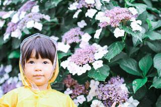 花を持つ小さな女の子の写真・画像素材[3380358]