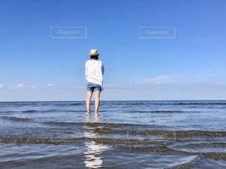 女性,自然,風景,海,空,夏,ビーチ,水面,海岸,人,夏空