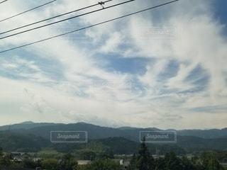 空,雲,山,樹木,日中
