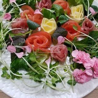 花,花束,バラ,皿,料理