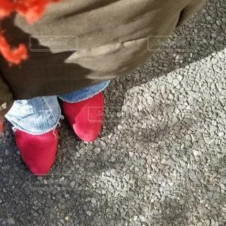 冬,歩く,地面,履物
