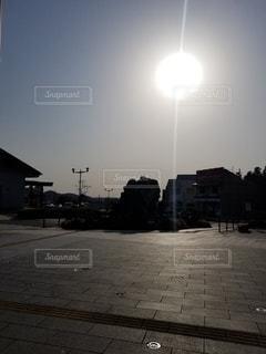空,建物,太陽,朝,地面