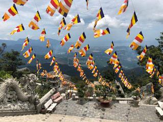 風景,屋外,山,旅行,フラッグ,旗,山頂,ベトナム,バーナーヒルズ,BA NA HILLS