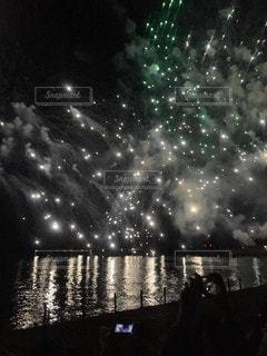 海,夜,花火,景観