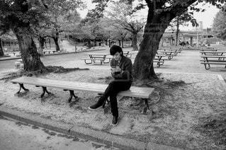 公園,イケメン,屋外,かっこいい,モノクロ,ベンチ,景色,男,樹木,ピクニック,人,地面,デート,彼氏,おしゃれ,旦那,20代