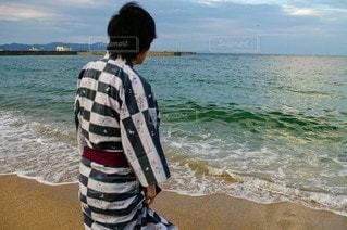 男性,自然,風景,海,空,屋外,ビーチ,水面,人,浴衣,淡路島