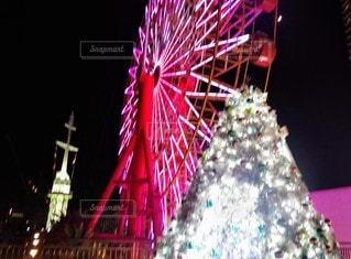夜,観覧車,装飾,神戸,クリスマス ツリー