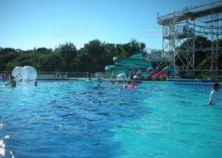 空,夏,屋外,ボート,プール,青,水面,泳ぐ,たくさん,スイミング プール