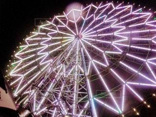 空,乗り物,夜景,観覧車,都会,ライトアップ,明るい,景観,アミューズメント パーク