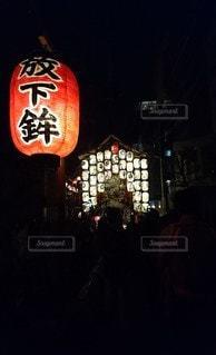 風景,夏,夜,暗い,明るい,祭,通り,夏祭り,祇園祭,鉾
