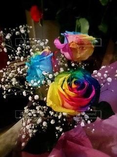 花,花束,バラ,レインボー,鮮やか,幸せ,誕生日,お祝い,カラー,奇跡,花言葉