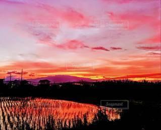 風景,空,屋外,夕暮れ,いなか