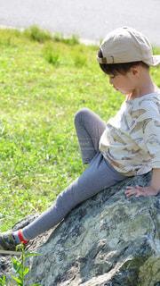 風景,子供,草,岩,人,日本,幼児,4歳児