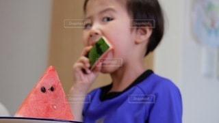 スイカを食べている小さな男の子の写真・画像素材[3519135]