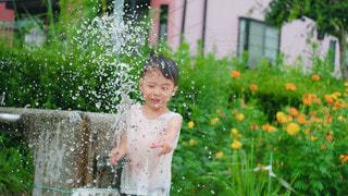 水遊びする男の子の写真・画像素材[3538644]