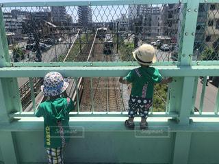 風景,乗り物,電車,陸橋,仲良し,人,少年,兄弟,東武東上線