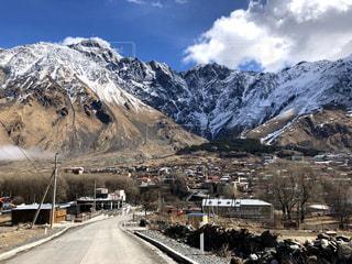 自然,空,雪,屋外,山,ジョージア,カズベキ