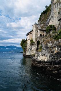 湖,海外,ボート,水面,城,イタリア,岩山