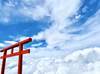 空,富士山,屋外,雲,青い空,景色,山頂,雲海,御来光,日中,クラウド