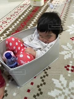 箱の中で寝ている女の子の幼児の写真・画像素材[3249355]