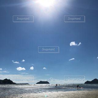 自然,海,空,夏,ビーチ,雲,水面