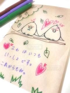 恋人,鳥,イラスト,ペン,夫婦,メッセージ,手書き,小鳥,紙,おえかき,メッセージカード,オリジナル,テキスト,おうち時間