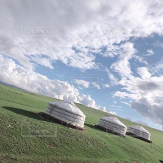 自然,風景,草原,景色,丘,モンゴル,眺め,ゲル,クラウド
