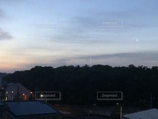 風景,空,屋外,樹木,月,三日月,朝靄,緑地