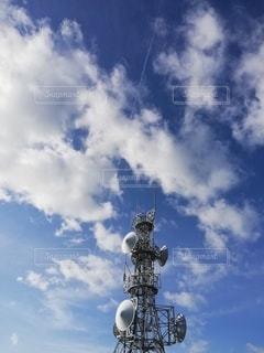 空,雲,晴れ,青空,青,タワー,塔,飛行機雲