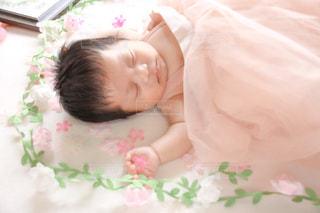 自然,花,屋内,少女,人物,人,赤ちゃん,新生児,ベビーベッド,ニューボーンフォト,ベビードレス,ピンクのドレス