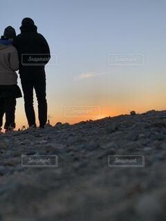 自然,空,屋外,太陽,朝日,砂,ビーチ,砂浜,海岸,オレンジ,砂漠,正月,お正月,地平線,日の出,新年,初日の出