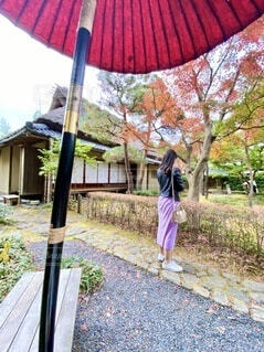 ピンクの傘を持っている人の写真・画像素材[3929606]