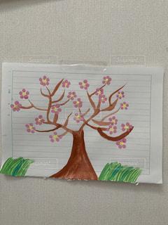 花,桜,木,アート,壁,紙,水彩画,おえかき,子どもの作品,おうち時間