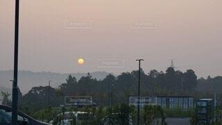 風景,空,屋外,太陽,朝日,車,道路,シルエット,樹木,月,正月,お正月,日の出,新年,初日の出,車両,日中,街路灯