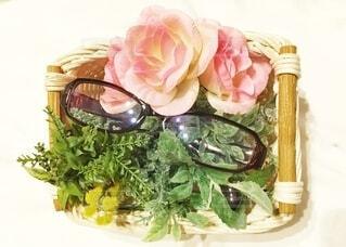 花と眼鏡との写真・画像素材[3644500]