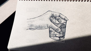 イラスト,水,絵,手,アート,コップ,ペン,カップ,紙,おえかき,スケッチ,おうち時間