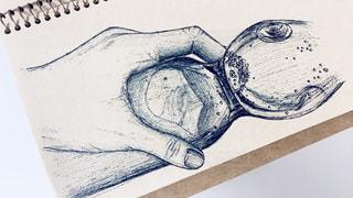 夏,手,アート,ペン,ラムネ,手書き,インク,紙,おえかき,スケッチ,おうち時間