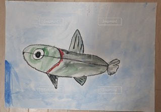 魚,ペン,夏休み,生き物,宿題,作品,紙,課題,水彩画,おえかき,絵具,おうち時間