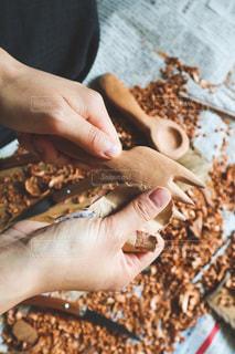 手作り木製フォークの写真・画像素材[3338600]
